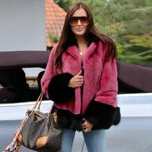 2021 New Real Mink Fur Jacket Women Fashion Color Patchwork Full Pelt Genuine Mink Fur Coat with Turnn-down Collar Overcoat Warm