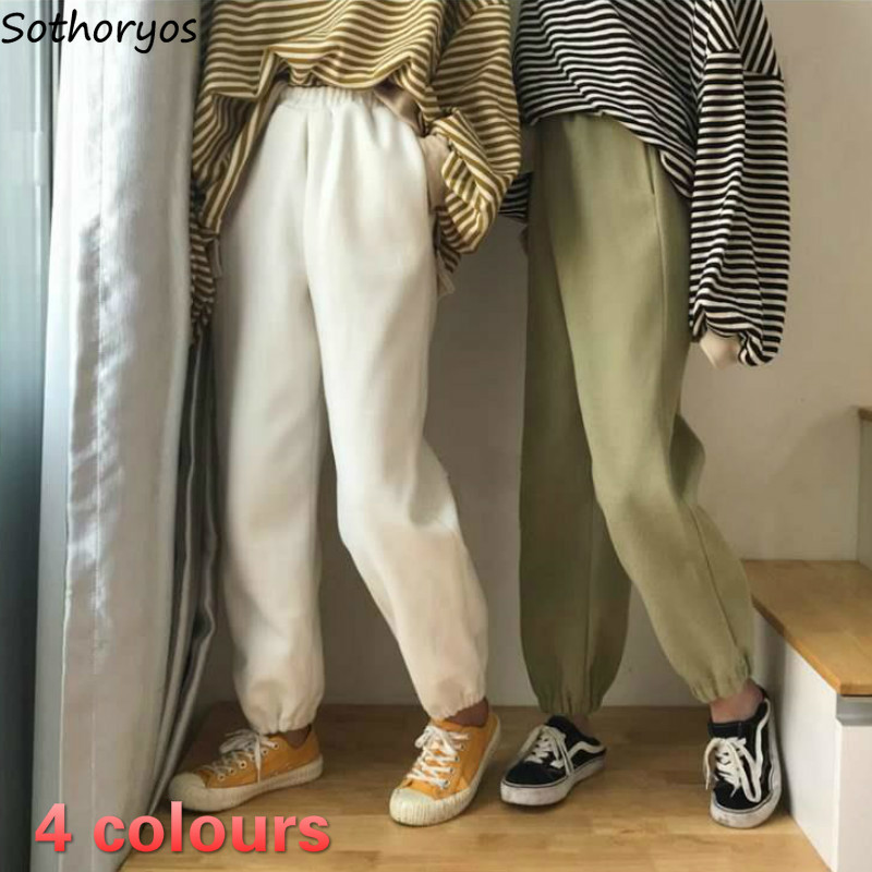 Women Pants Warm Loose Simple Solid Korean Thicken Harem Trousers Vintage Unisex Velvet High Quality Womens Students All-match