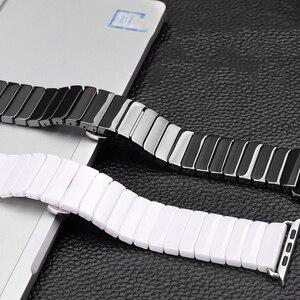 Image 3 - เซรามิคสำหรับAppleนาฬิกา44มม.40มม.Iwatch 42มม.38มม.หัวเข็มขัดสแตนเลสLinkสร้อยข้อมือApple Watch 6 SE 5 4 3