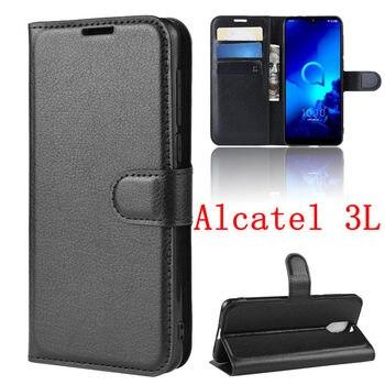 Перейти на Алиэкспресс и купить Чехол для Alcatel 1X 1C 1S 2019, чехлы с откидной крышкой и держателем для карт, Защитное стекло для экрана Alcatel 3 3V 3L 3X, защитная пленка