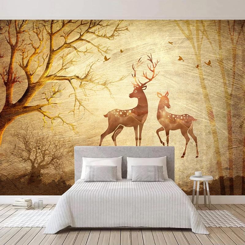 Custom Photo Golden Woods Elk Wallpaper Mural Art Wall Painting Living Room Sofa Bedroom Self-adhesive Wall Paper Wall Decals 3D