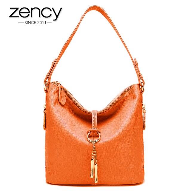 Элегантная женская сумка на плечо Zency, белая сумка хобо из 100% натуральной кожи, Дамский мессенджер, кошелек, украшение с подвеской и замком