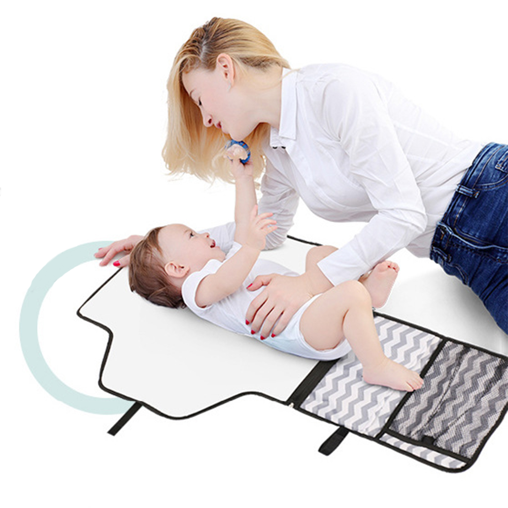 1 Set  Waterproof Changing Pad Portable Baby Diaper Cover Mat Clean Hand Folding Diaper Bag Striped L Multifunction Pad