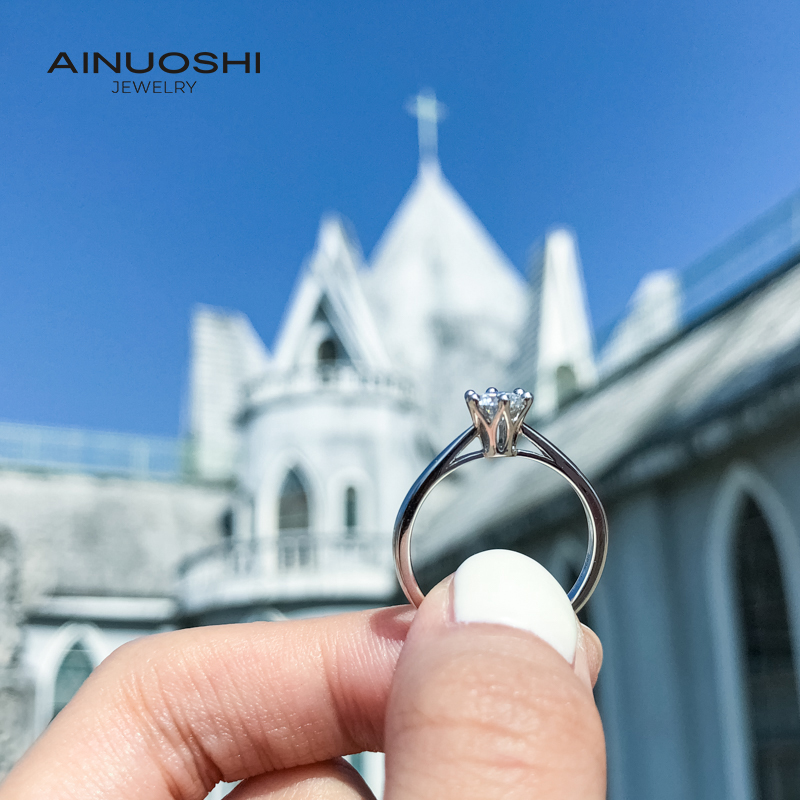 AINUOSHI 0.5ct Simple Solitaire Round Cut Moissanite Engagement Rings For Women 925 Silver Exquisite Jewelry Gifts