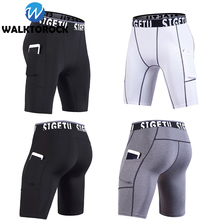 Summer Mens Compression Shorts Tight Running Shorts Gym Fitness Training Sport Shorts Quick-Drying Crossfit Shorts with Pocket