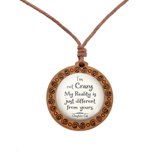 Were All Mad Here - Alice Quote Necklace Wooden Glass Pendant Rope Chain Cosplay Jewelry