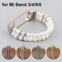 White Pearl Mi Band 6 bracciale gioielli cinturino cinturino per Xiaomi Mi Band 5 cinturini Correa per Miband 3 4 cinturino elastico