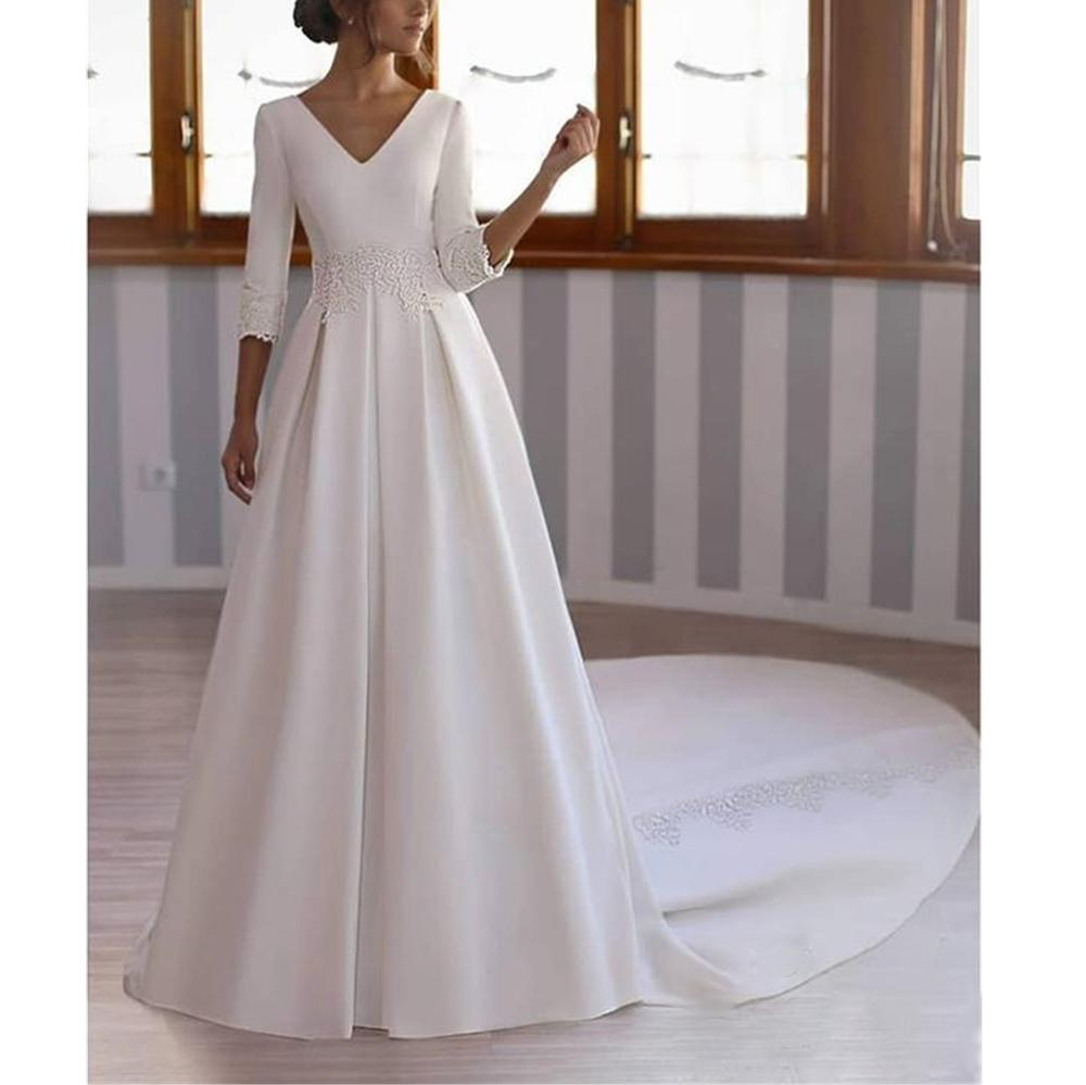 Glamorous White Satin Robe De Mariée 3/4 Sleeves V-neck Court Train Backless Natural-Waisted A-line Appliques Wedding Dresses