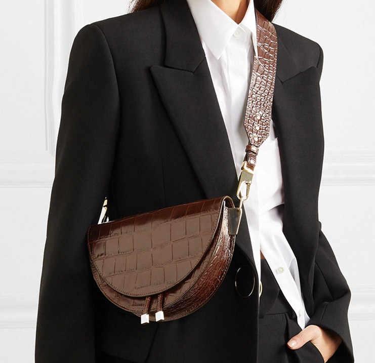 Fashion Ular Pola Wanita Tas Bahu Pakaian Setengah Lingkaran Kuda Kuda Pu Kulit Wanita Messenger Tas Trendi Saddle Bag Tas