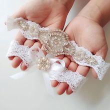 2Pcs/Set Women Wedding Bridal Floral Lace Thigh Rings Elastic Leg Garters Rhinestone Faux Pearl Bowknot Beaded Glitter Prom