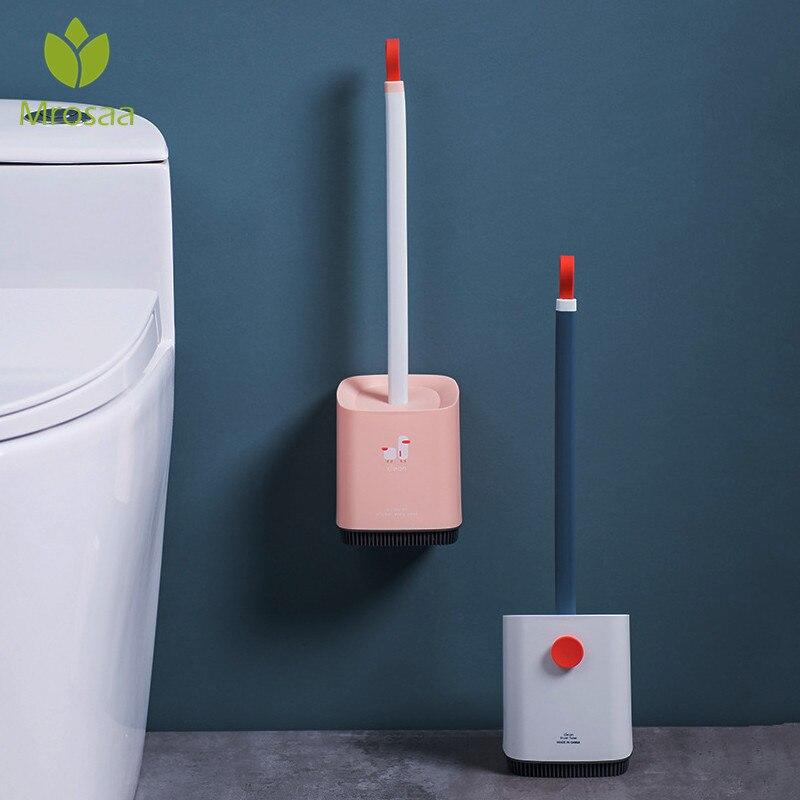 Ev ve Bahçe'ten Temizlik Fırçaları'de Tuvalet fırçası ve tutucu seti kauçuk kafa temizleme fırçası tuvalet duvar asılı ev zemin temizleme banyo aksesuarları title=