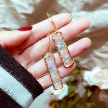 Korea East Gate Literature and Art Fan natural shell sequins Earrings cold temperament long simple geometry eardrop