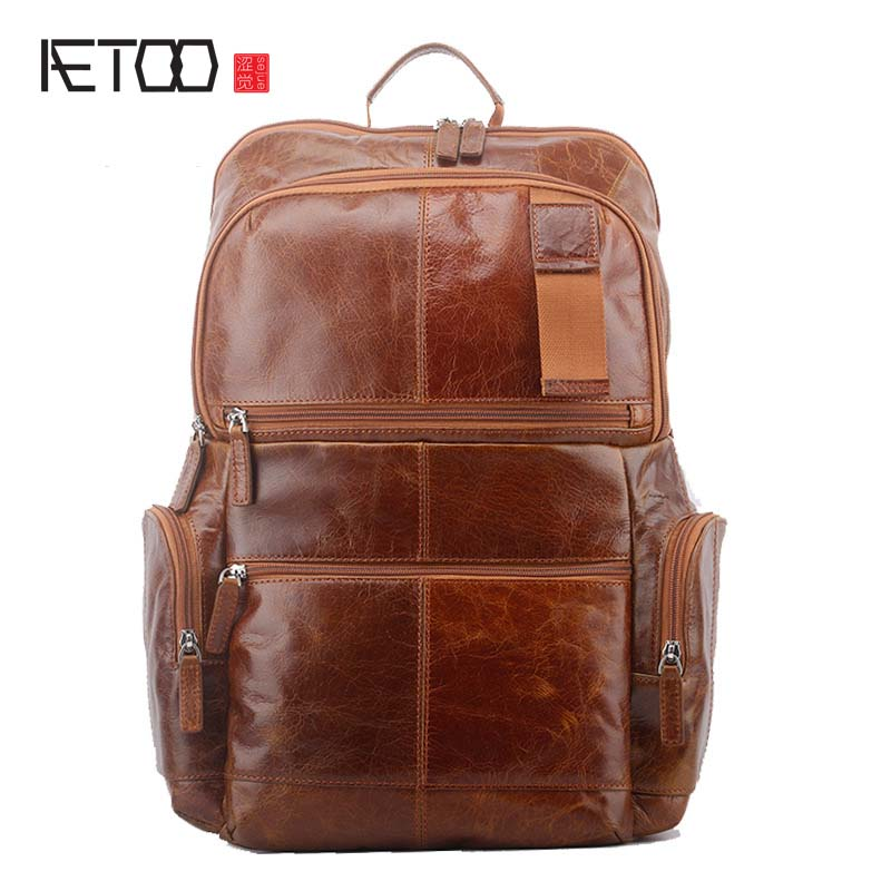 AETOO New Men's Shoulder Bag Leisure Travel Large Capacity First Layer Oil Wax Leather Backpack Men