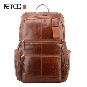 цена AETOO New men's shoulder bag leisure travel large capacity first layer oil wax leather backpack men онлайн в 2017 году