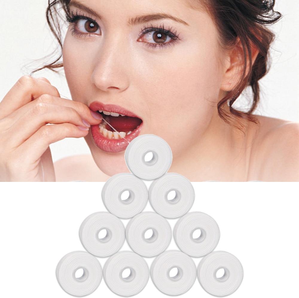 10 Rolls 50m Dental Flosser Oral Hygiene Teeth Cleaning Wax Mint Flavored Dental Floss Spool Toothpick Teeth Flosser Tooth Clean