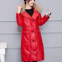 Korean Fashion Pu Leather Cotton Padded Down Coat Women Fur Hooded Windbreaker Jacket Coat Plus Size XXXL Abrigos Mujer Invierno цены онлайн
