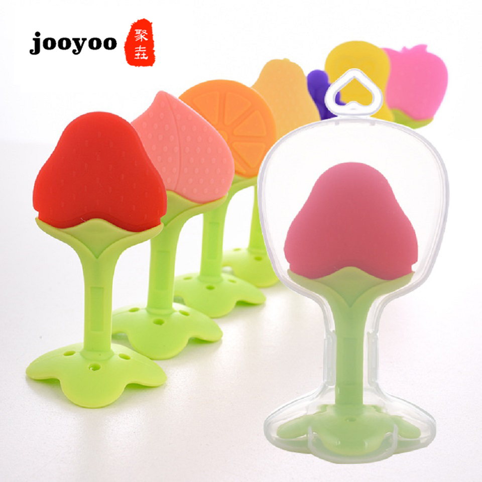 Baby Teether Toys Birth Gift Kids Flower Pacifier ClipTeethers Toy Love Children Fruit Color Teething Stick Baby Toys For Teeth