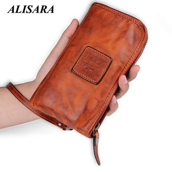Alisara Men Long Wallets 100%Cowhide Leather Retro Handmade Male Clutch Locomotive British Casual Multi-function Card Bag Zipper
