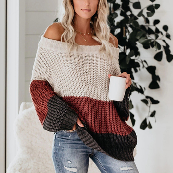 Women Sexy Slash Neck Off Shoulder Striped Sweaters Autumn Winter Loose Patchwork Jumpers Long Sleeve Knitted Pullover Sweater seggnice striped loose ladies long sleeve sweater pullover 2020 autumn winter new arrival round neck knit sweaters for women