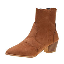 Brown Ankle Boots for Women Autumn sexy Ladies Suede Single Shoes woman Solid Colors Pointed Toe Ankle Square root Short Boots(China)