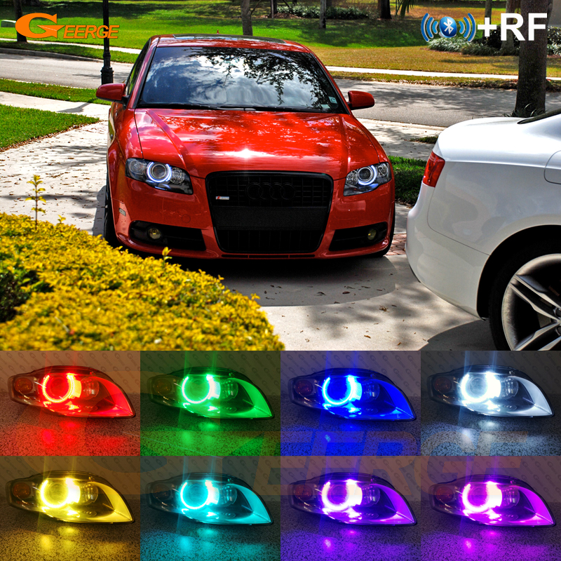 RF remote Bluetooth APP Ultra bright Multi-Color RGB LED Angel Eye Day Light For Audi A4 S4 RS4 B7 2004 2005 2006 2007 2008 2009