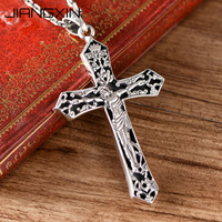 925 Sterling Silver Jesus Christ Big Cross Pendant 6*3.6cm 14.52g Christian Jewelry for Men Women Adjustable black Rope