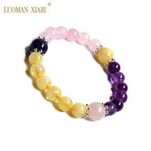 Aaa 100% natural pedra redonda grânulos cristal pulseira rosa quartzs ametistas citrinos jóias elásticas para presente namorada feminino
