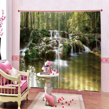 Landscape Curtain Green Water Green Digital Printing Window Curtain For Bedroom Living Room Decoration Can Be Customized