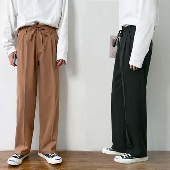 Korean Casual Pants Mens Fashion Solid Color Straight Trousers Men Streetwear Wild Loose Business Dress S-2XL