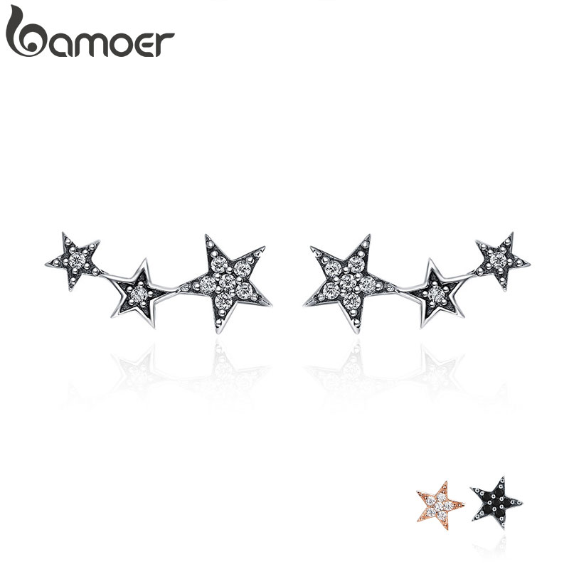 BAMOER Authentic 925 Sterling Silver CZ Exquisite Stackable Star Earrings for Women Jewelry Valentine's Day Gift SCE175(China)