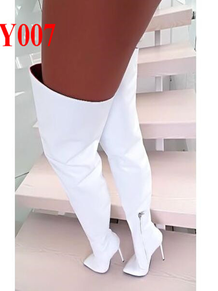 2019 Brand Autumn  Women Boots Long Stretch Slim Thigh High Boots Fashion Over the Knee Crotch Boots High Heels Shoes Woman