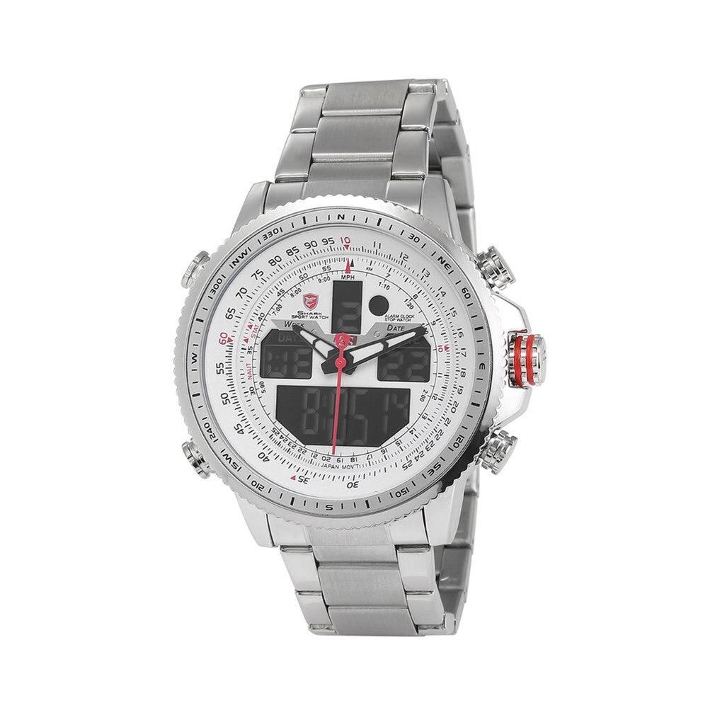 Reloj deportivo SH325N de lujo Winghead SHARK, reloj negro de doble horario con alarma de fecha, reloj de pulsera de acero, relojes de cuarzo LCD