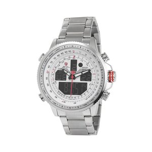 SH325N Luxury Winghead SHARK Sport Watch Men Black Dual Time Date Alarm Steel Band Relogio Masculino LCD Quartz Watches