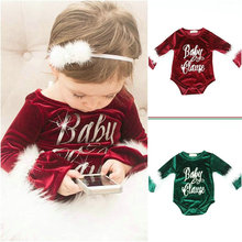 Kaguster Baby christmas romper Girls Cashmere Bunny Cute tiny cottons clothes gilr baby shark onesie 6-24M toddler