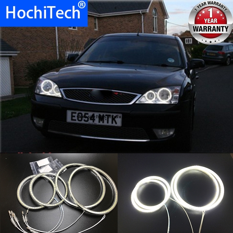 HochiTech For FORD Mondeo MK3 2001-2007 Ultra Bright SMD White LED Angel Eyes 2600LM 12V Halo Ring Kit Daytime Running Light DRL