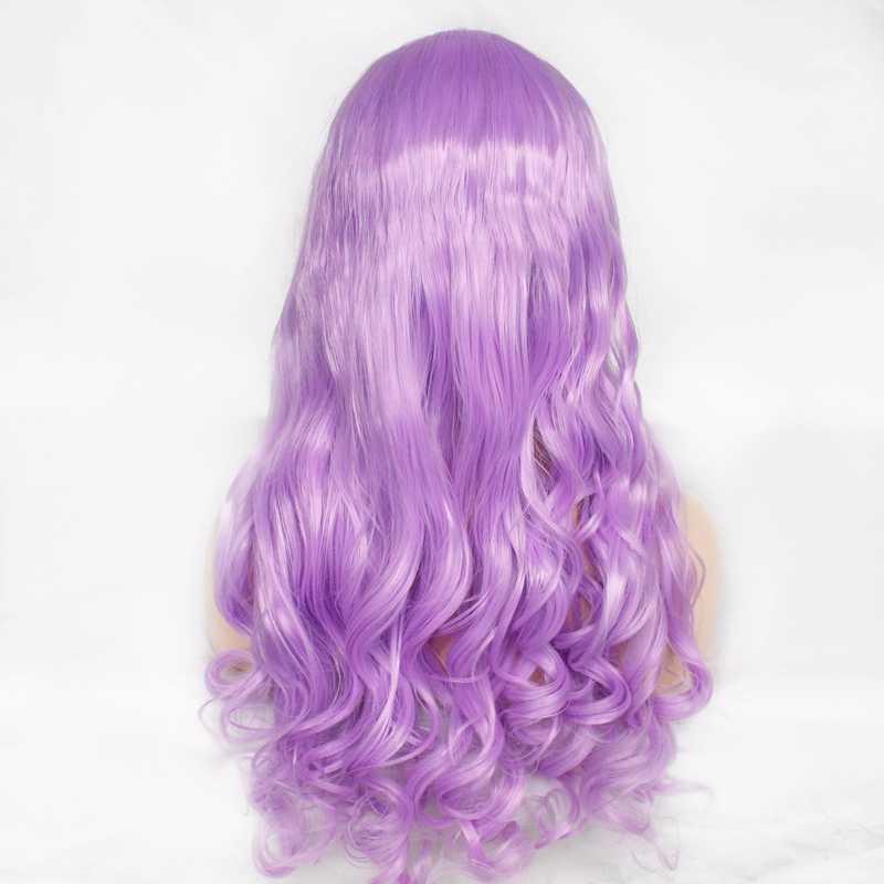 Pastell Lila Lila Perücke Damen Party Cosplay Reise Lange Haar Licht Lila Synthetische Spitze Front Perücken Körper Welle Natürlichen Haaransatz