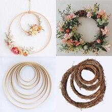 10 40 см DIY висящий венок из ротанга/бамбука/металла, железное кольцо, обруч, двери, подвесные украшения, вечерние пасхальные Свадебные венки