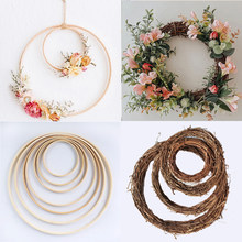 10-40cm DIY Hanging Wreath Rattan/Bamboo/Metal Wreath iron Ring Hoop Door Hanging Craft Party Decorations Easter Wedding Wreaths(China)
