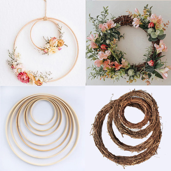 10-40cm DIY Hanging Wreath Rattan/Bamboo/Metal Wreath iron Ring Hoop Door Hanging Craft Party Decorations Easter Wedding Wreaths on AliWatcher
