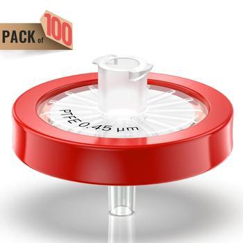 Filtry strzykawkowe membrana PTFE 0 45μm wielkość porów średnica 25mm 100 sztuk przez ks-tek tanie i dobre opinie Lejek syringe filters 0 45um