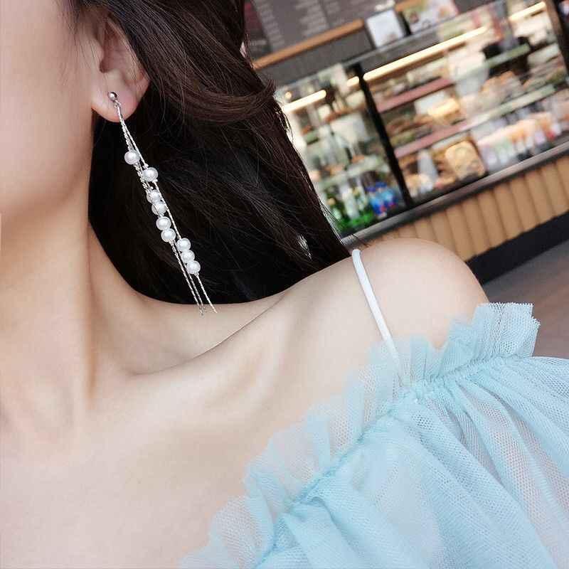 ใหม่แฟชั่นพู่จำลอง Pearl จี้ต่างหูสุภาพสตรี Gold และ Silver Chain ต่างหู