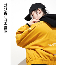 Toyouth BF Wind Loose Printed Basic Jackets Fashion Yellow C