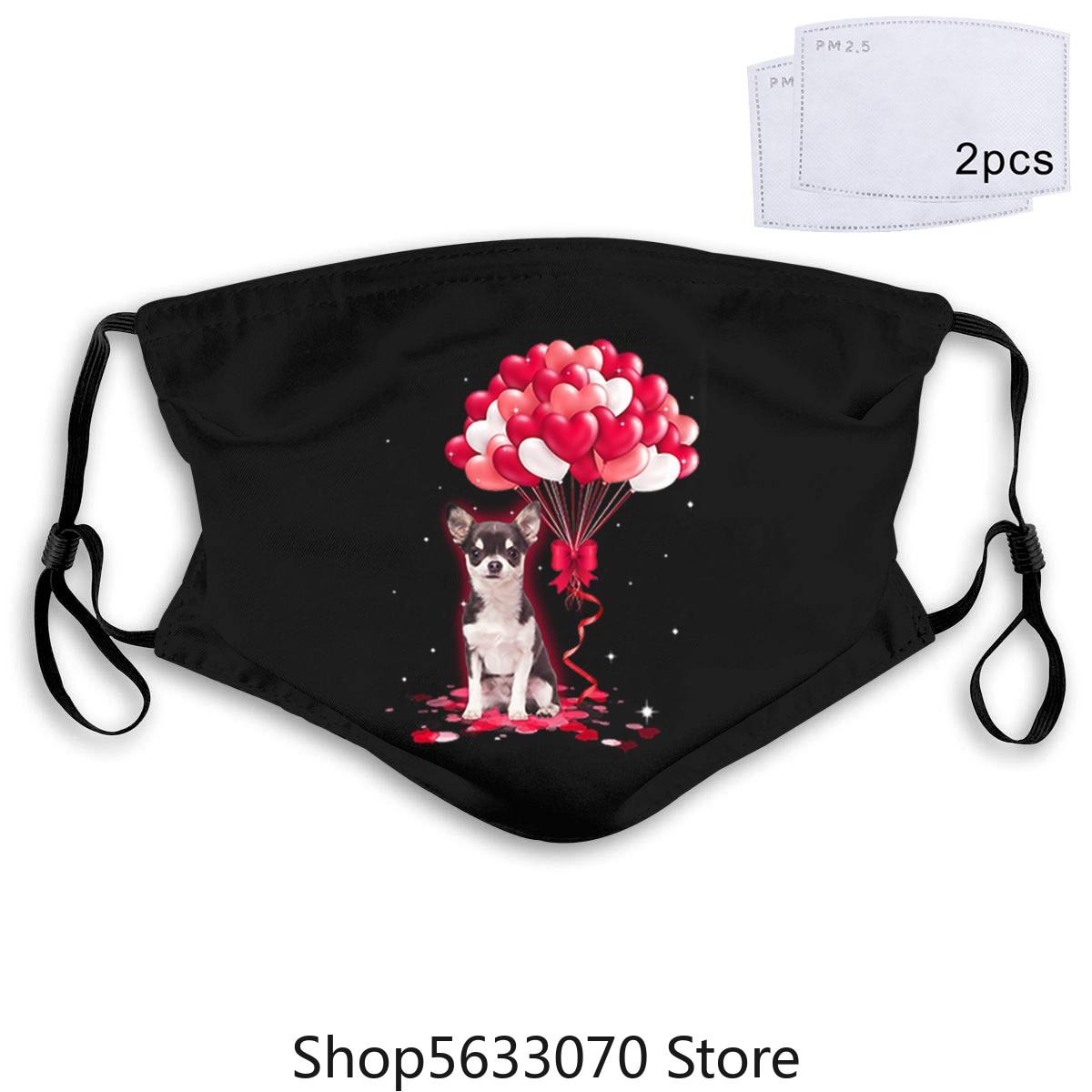 Máscara de corazón con globos de amor de perro Chihuahua 20 piezas PM2.5 de algodón unisex, mascarilla facial Anti-humo transpirable y lavable con mufla bucal para ciclismo