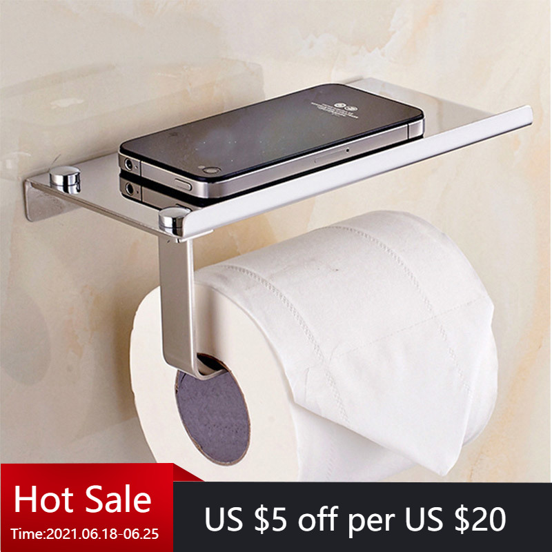 Wall Mount Toilet Paper Holder with Phone Shelf 304 Stainless Steel Toilet Paper Roll Holder Tissue Holder Bathroom Accessories