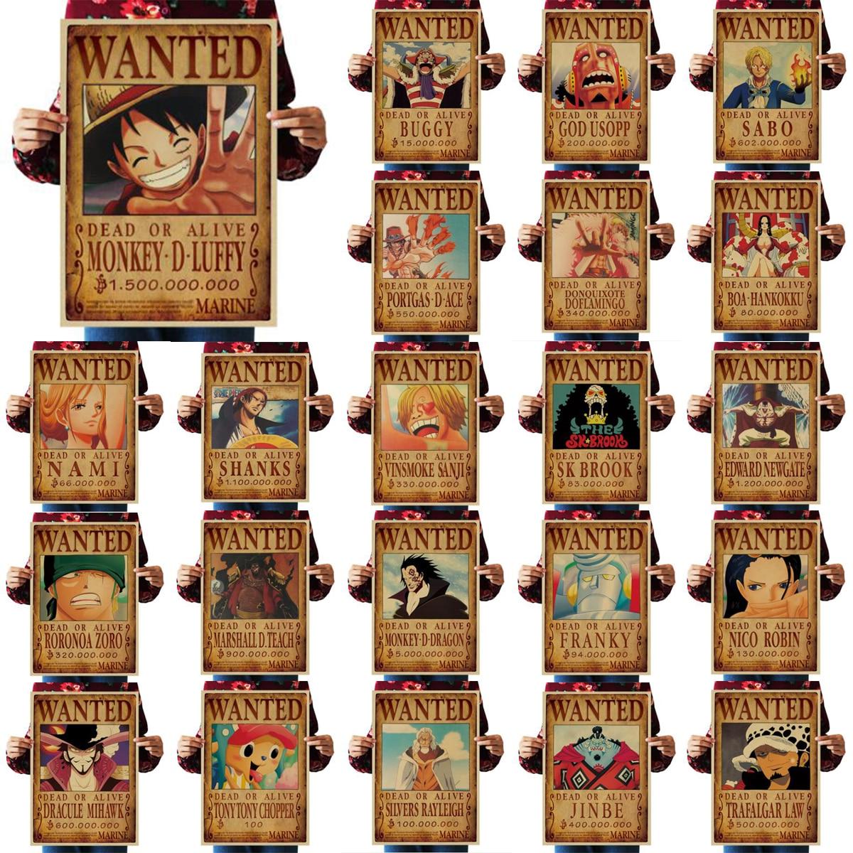 Um conjunto de 23 uma peça cartazes 51.5x36cm decoração da casa adesivos de parede papel vintage uma peça cartazes anime luffy queria