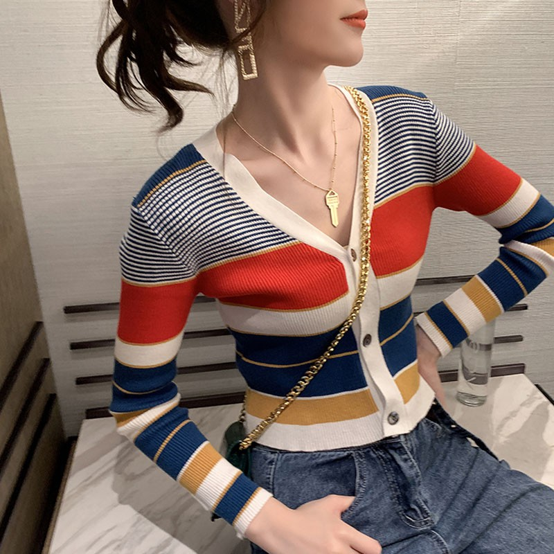 Women Button Striped Print Knit Short Cardigan Long Sleeve Casual Warm Loose Sweater