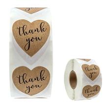 Спасибо наклейки крафт-бумаги Теги DIY партии джунгли украшений деревянные сердца уплотнение этикетка для подарочной коробке упаковка наклейки 500шт