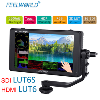FEELWORLD LUT6S 6 inch camera veldmonitor 2600nits HDR / 3D LUT touchscreen 3G-SDI 4K HDMI DSLR wave