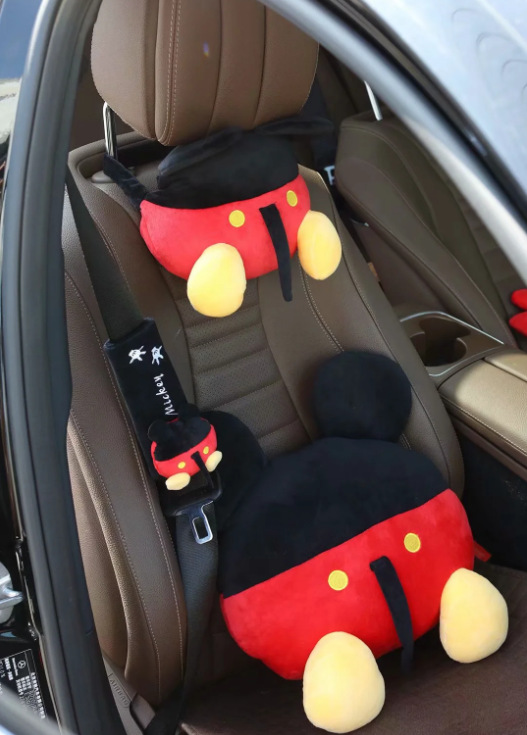 Cartoon Plush Toy Mickey Tissue Cover Car Chair Neck Pillow Belt Cover Birthday Gift #4712