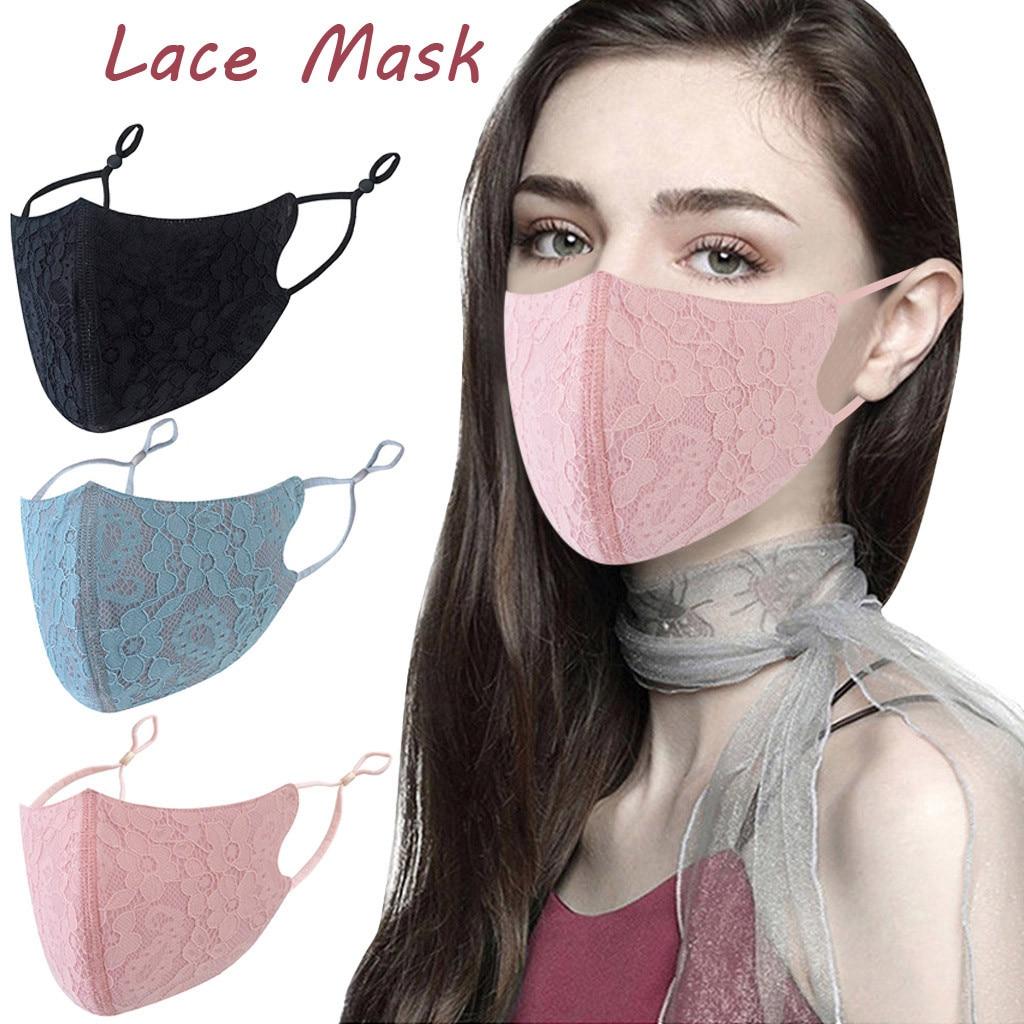Многоразовая моющаяся маска для взрослых с кружевным цветком, регулируемая хлопковая дышащая Пылезащитная маска, однотонная черная розова...